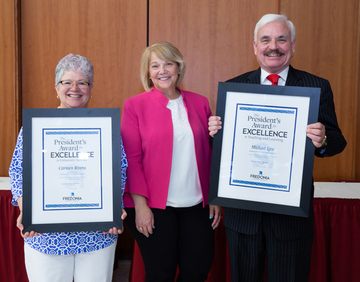 Dr. Carmen Rivera (far left) with President Virginia Horvath and Mike Igoe