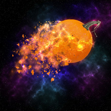 illustration of exploding pumpkin