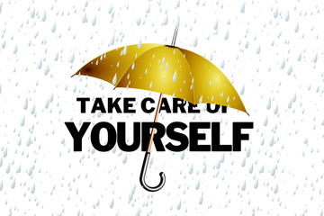 umbrella with text Take Care of Yourself