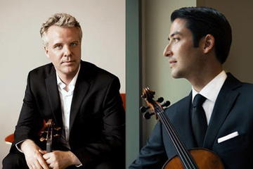 Violinist Sibbi Bernhardsson (left) and violist Masumi Per Rostad