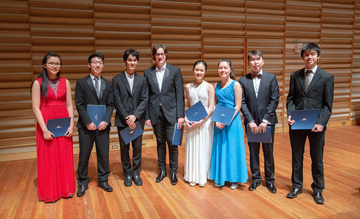 Lucas Amory, winner of the Sorel competition, with other prize winners, in Rosch Recital Hall.