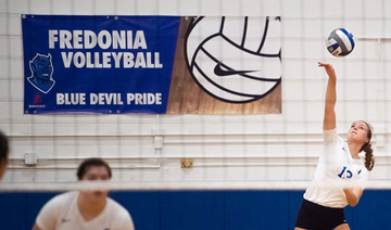 Emma Booth serves up a winner in volleyball
