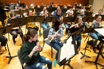 The Fredonia Wind Ensemble in rehearsal
