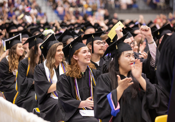 Fredonia students sit in Steele Hall during 2018 commencement