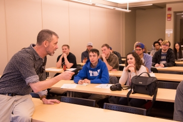 Fredonia alum and writer Sean Kirst addresses students during a Writers at Work workshop