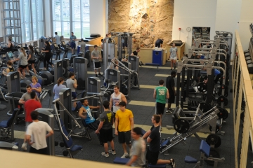 students work out and exercise in the fitness center