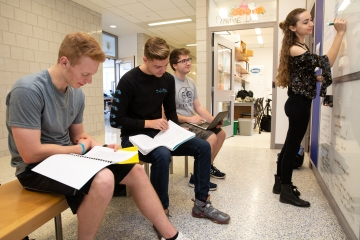 students study together in an alcove of the Science Center