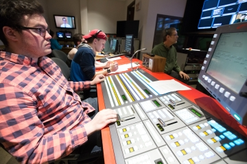 students work on a  television production in Thompson studio