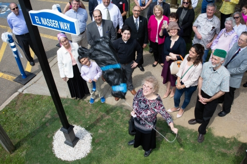 "May 9 for the formal naming of ""El Nasser Way"" on campus"
