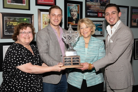 From left: Dr. Susan McNamara, Alex Czechowski, President Virginia Horvath, and Nate Winn.