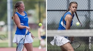 Olivia Miller and Anna Chiacchia playing tennis