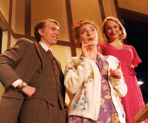 Cast members include (from left) Weston Ebbrecht) as Garry Lejeune, Katelyn Crall as Dotty Otley and Genevieve Ellis as Brooke A