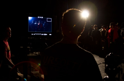 reviewing monitor in making of movie by Roslin Smith