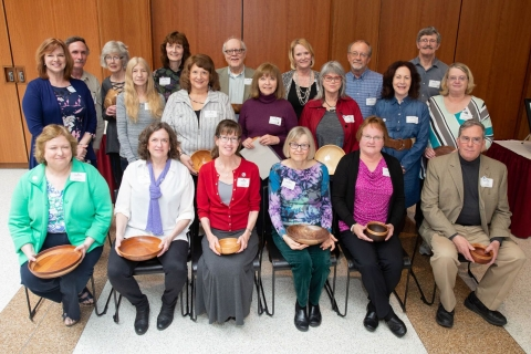 Retirees attending the President's Recognition Luncheon in the Williams Center.