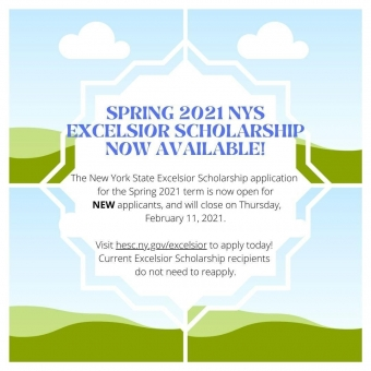 New York State Excelsior Scholarship Application is now available for the Spring 2021 semester! Don't delay in applying!  Click the link in the bio for assistance.