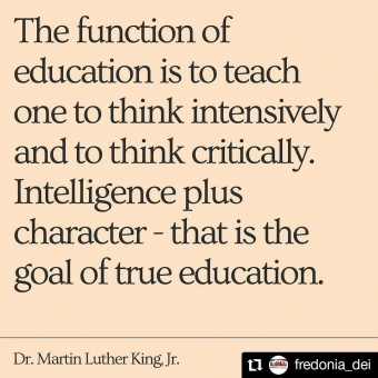 #Repost @fredonia_dei • • • • • • On this Martin Luther King Day, let's all take a moment to think about how we might educate ourselves and others better. #martinlutherkingday
